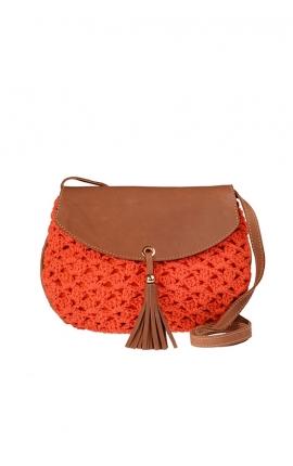 Orange eco-friendly crochet bag - Shoulder bag style