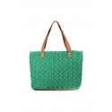 Green eco-friendly crochet bag - Shopping style