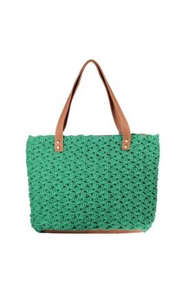 Bolso de crochet verde ecológico - Estilo shopping