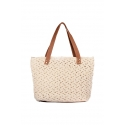 Beige eco-friendly crochet bag - Shopping style