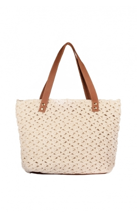 Beige eco-friendly crochet bag - Shopping style