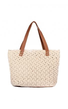Bolso de crochet beige ecológico - Estilo shopping