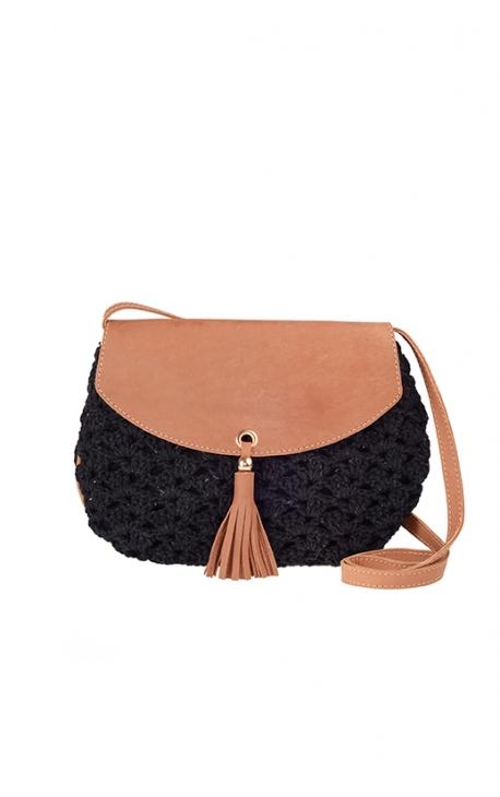 Black eco-friendly crochet bag - Shoulder bag style