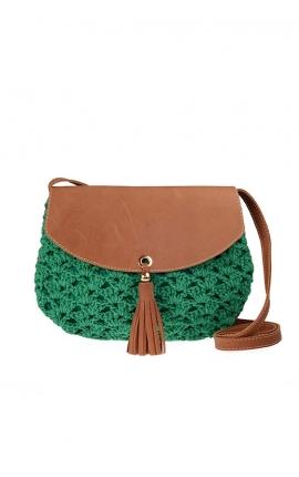 Bolso de crochet verde ecológico - Estilo bandolera
