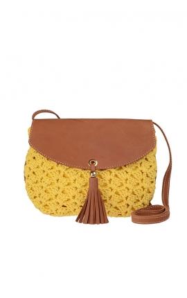 Bolso de crochet amarillo ecológico - Estilo bandolera