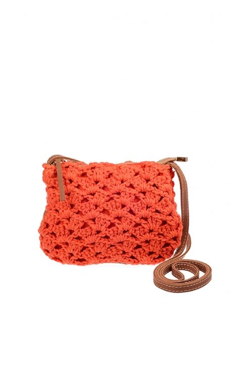 Small orange eco-friendly crochet bag - Shoulder bag style