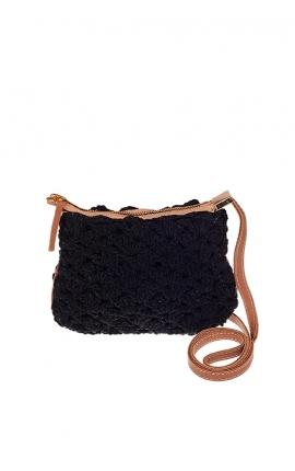 Bolso pequeño de crochet negro ecológico - Estilo bandolera