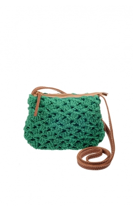 Small green eco-friendly crochet bag - Shoulder bag style