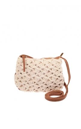 Bolso pequeño de crochet beige ecológico - Estilo bandolera
