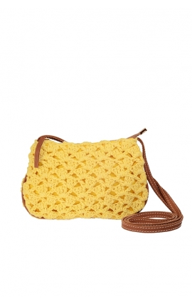 Small beige eco-friendly crochet bag - Shoulder bag style
