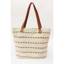 Beige eco-friendly crochet and leather bag - Shopping style