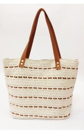 Bolso de crochet y cuero ecológico beige - Estilo shopping