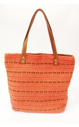 Orange eco-friendly crochet and leather bag - Shopping style