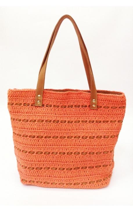 Bolso de crochet y cuero ecológico naranja - Estilo shopping
