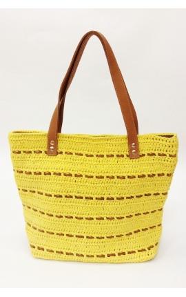 Bolso de crochet y cuero ecológico amarillo - Estilo shopping