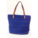 Royal blue eco-friendly crochet and leather bag - Shopping style
