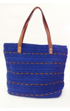 Bolso de crochet y cuero ecológico azul royal - Estilo shopping
