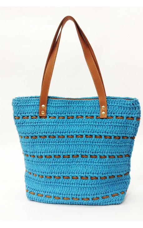 Turquoise blue eco-friendly crochet and leather bag - Shopping style