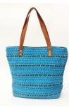 Bolso de crochet y cuero ecológico azul turquesa - Estilo shopping