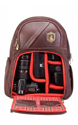 Leather rucksack for reflex camera