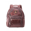 Leather travel backpack with compartment for laptop