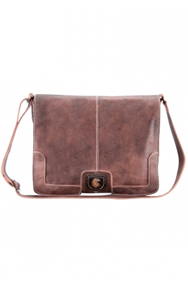 Men's leather messenger bag for laptop