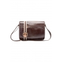 Leather men's bag for laptop with clasp