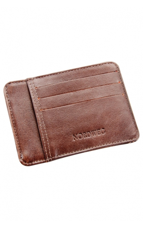 Compact leather wallet with card holder