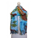 Pañuelo multiusos estampado estilo acuarela con motivos brasileños