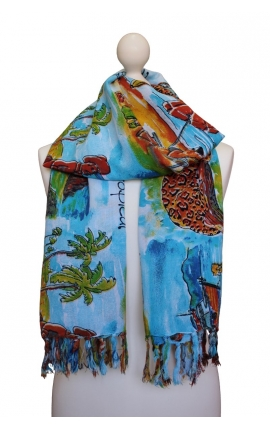 Scarf decorated in a watercolour style with Brazilian motifs