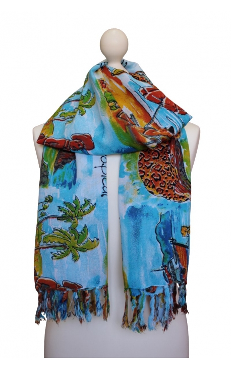 Multipurpose scarf decorated in a watercolour style with Brazilian motifs
