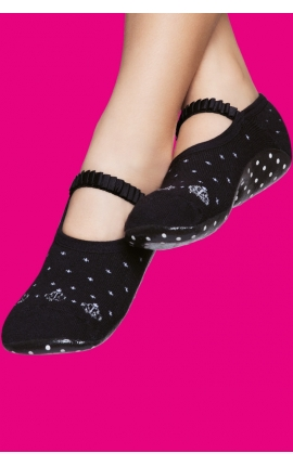 Socks with grip sole for girls - Black and white