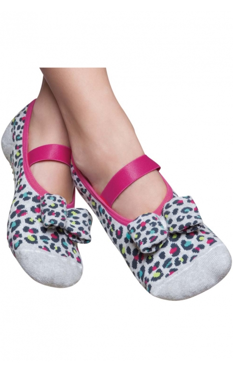 Calcetines para Pilates - animal print gris y rosa