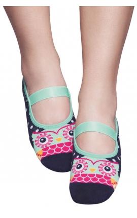 Non-slip yoga socks - Owl print