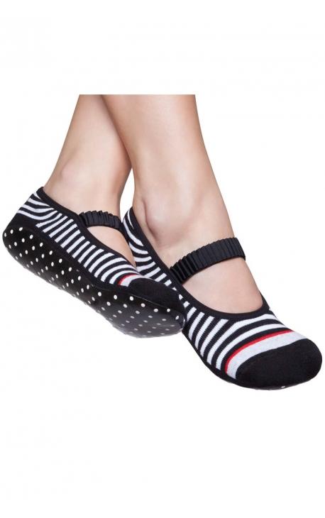 Calcetines antideslizantes Pilates - negro y blanco