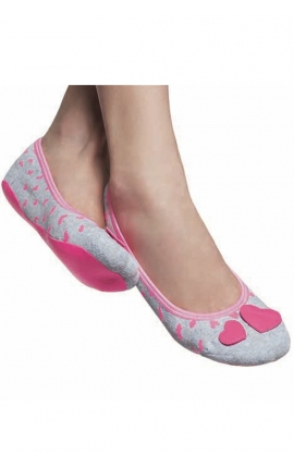 Non-slip socks with rubber sole - Love grey and pink
