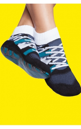 Non-slip socks for adult - Blue sport shoes print