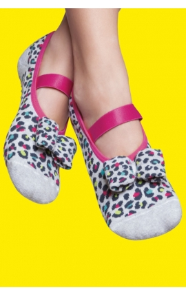 Non-slip pilates socks - Grey and pink animal print