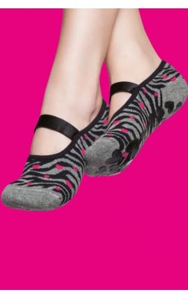 Calcetines antideslizantes mujer - estampado cebra