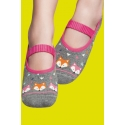 Grip socks for women - Grey and pink with a kitten print
