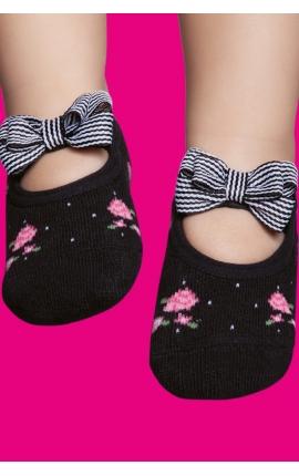 Non-slip grip socks for babies - Roses print