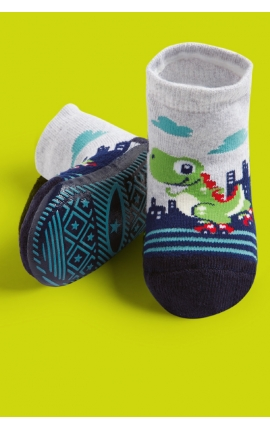 Socks with non-slip sole for babies - Dinosaurs print