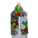 Shawl decorated with various colours and natural motifs