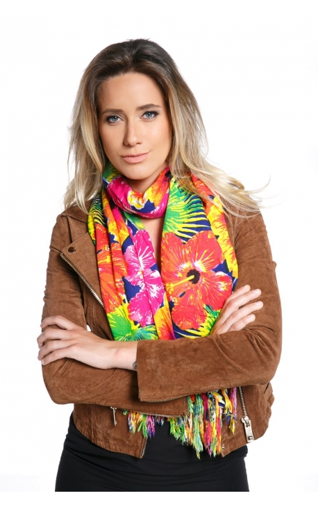 Scarf printed with Hibiscus flowers
