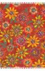 Fular rojo con flores de Maracuyá