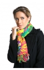 Green scarf printed with passion fruit flowers