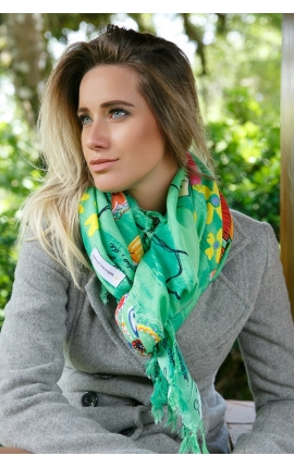 Green scarf printed with floral motifs