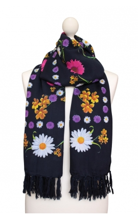 Black scarf printed with floral motifs
