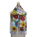 Pañuelo de lunares blanco estampado con motivos florales