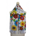 White scarf printed with polka dots and floral motifs